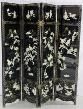 Vintage Chinese Lacquer Alabaster Screen