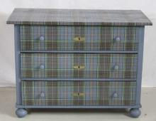 Antique Pine Dresser w/ Scottish Tartan