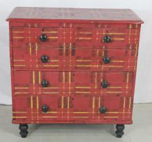 Antique English Folk Art Plaid Dresser