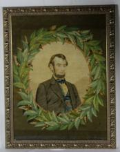 Antique Needlepoint & Petite Point Abraham Lincoln