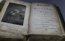 Antique Early 1841 German Bible w/ Engravings