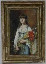 Russian Painting Young Girl w/ Flowers Harlamoff