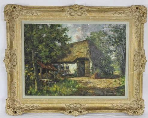 Landscape w/ Cottage Painting - Frans van Genesen