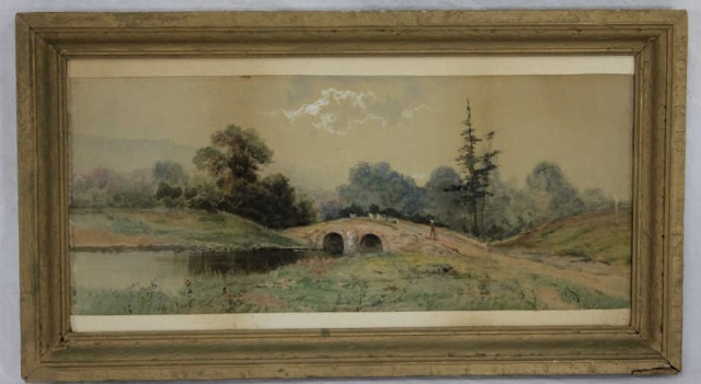 Antique Landscape Painting Guache Watercolor