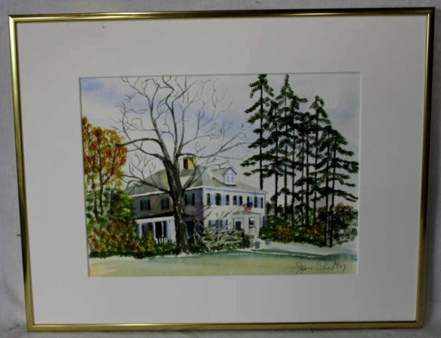 Watercolor of a Greek Revival Style Home - Signed