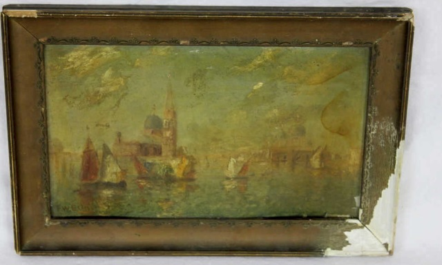 Venetian Canal Scene Oil Painting Signed Illegibly