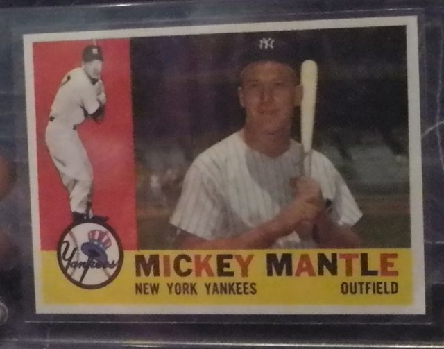 "1960 Mickey Mantle Baseball Card Consigner says ""authentic"" New York Yankees Outfield Card 350"