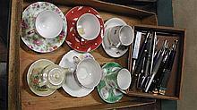 Occupied Japan cups & saucers x 6 + bonus box of vintage pens