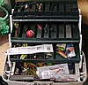 Tackle box and fishing tackle .