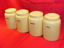 Set of 4 Hall china cannisters