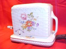 Rare Porcelier china toaster basketweave wild flowers pattern