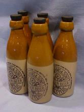 Lot of 5 T. F. Adams & Sons Halstead ginger beer bottles