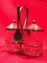 Silverplate and crystal condiment set
