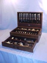 Service for 12 Sterling silver flatware set by Gorham. Chantilly pattern