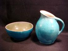 Celedon Green glaze  pottery pitcher and bowl