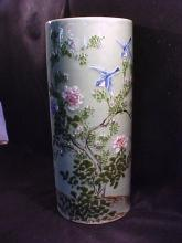 Oriental porcelain umbrella stand with green glaze