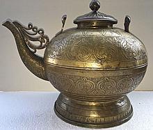 Middle Eastern Incised Tea /Coffee Pot Vessel , 19th C.