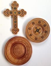 Hand- Carved Wood & Mother Of Pearl Inlay Cross & Chargers