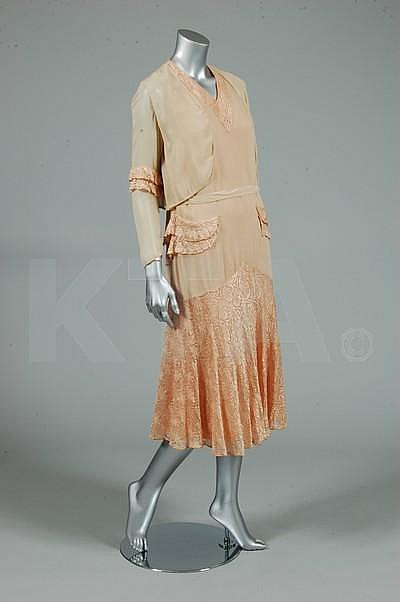 A pale apricot and ivory chiffon and lace
