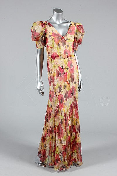 A printed floral chiffon garden party dress, circa