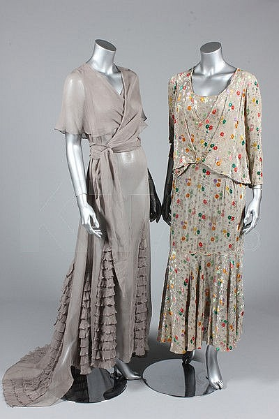 A group of 1920s-30s clothing, including grey