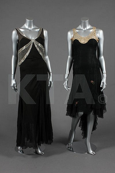 A black chiffon bias-cut evening gown, early