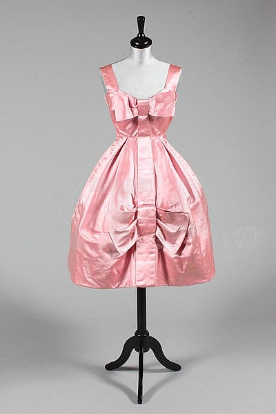 A Rahvis couture pink satin cocktail dress, mid
