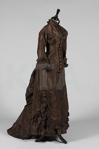 A chocolate brown taffeta promenade gown, circa