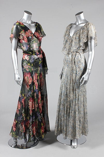 Six 1930s evening gowns, including floral chiffon,