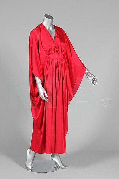 A Yuki for Rembrandt cerise jersey evening gown,