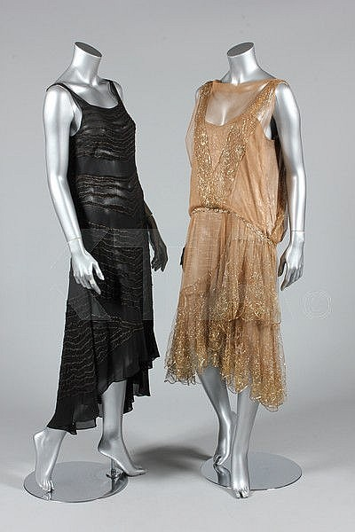 A gold lace and lamé cocktail dress, circa 1925,