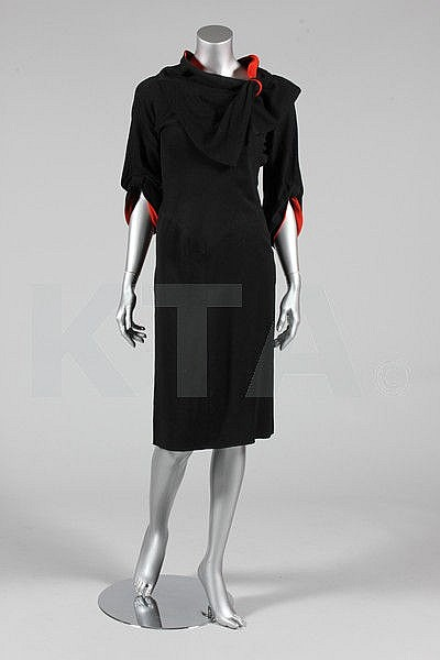 A black and red wool day dress, possibly Jean