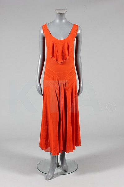A deep orange crepe georgette cocktail gown, circa