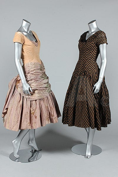 Two Digby Morton couture ball gowns and a coat,