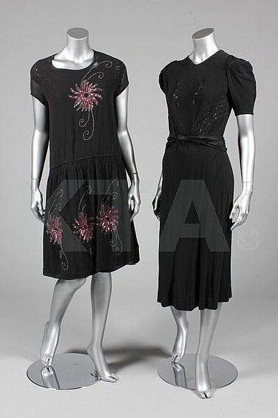 A group of mainly black evening wear, 1920s-40s,