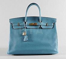 An Hermès bleu jean clemence leather Birkin bag,