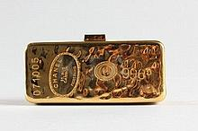 A Chanel gilt metal gold bullion minaudiere,