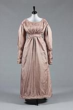 A fine old-rose silk walking dress, 1820s, with