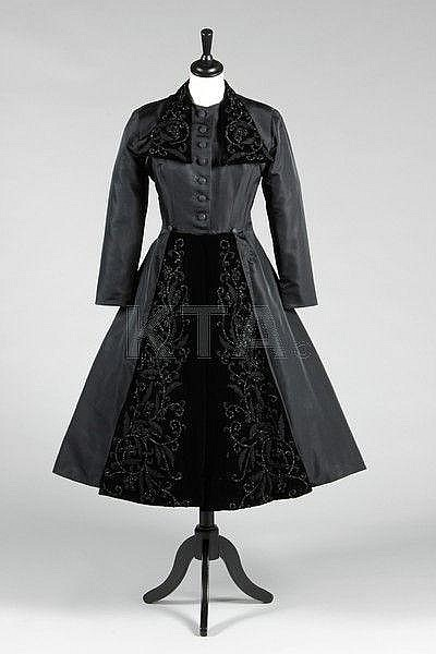 A rare and early Christian Dior black faille dress