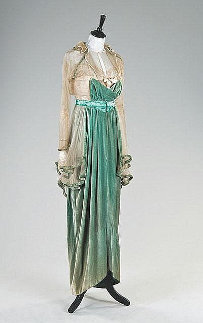 A rare jade green velvet Lucile evening gown,