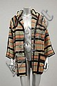 A Bill Gibb striped woollen hooded jacket,