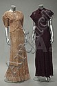 Two 1930s lace bias cut gowns with matching