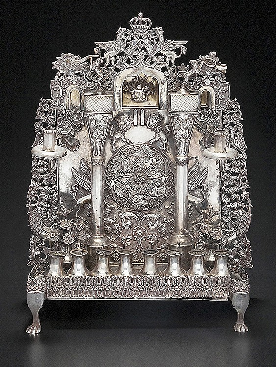 EXQUISITE RUSSIAN SILVER CHANUKAH LAMP.