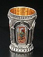 ISRAELI SILVER-GILT AND ENAMEL KIDDUSH BEAKER.