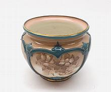 """Hadleigh's Worcester small faience Vase or Sugar Basin decorated with floral panels, pattern number F132A/17, 3 ¼"""" high"""