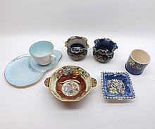 A Mixed Lot of Maling Wares, comprises an Ashtray, two-handled Octagonal Bowl, cylindrical Preserve Pot, Tennis Cup and Saucer, together with a pair of Royal Doulton small Balustered Jardinières (one restored) (7)
