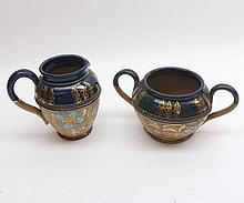 "A Royal Doulton Slaters small Cream Jug and matching two-handled Sugar Bowl, 3 ½"" and 3"" high (2)"
