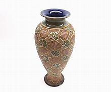 "A Doulton Slaters Baluster Vase, decorated with stylised foliage, 11"" high"