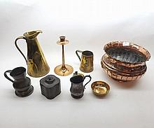 A Mixed Lot of Copper, Brass and Pewter Wares to include: Jardinière, Tankards, Tapering Jugs, Pewter Tea Caddy, Candlestick etc (qty)