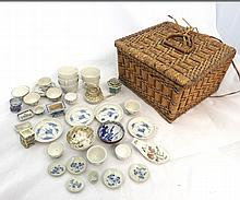 A Mixed Lot of various Miniature Oriental Tea Ware, comprises various Tea Bowls and Saucers, decorated in underglaze blue with smoke clouds; graduated set of Miniature Planters decorated predominantly in famille verte; Gilded Teapot etc, all